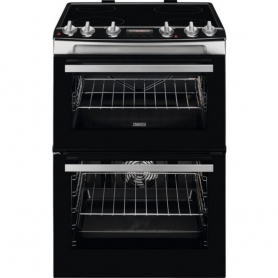 Zanussi 60cm Electric Double Oven with Ceramic Hob - Stainless Steel
